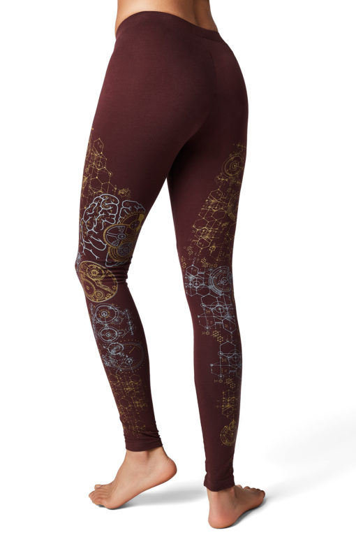 Yoga Pants Brain Maroon Back2