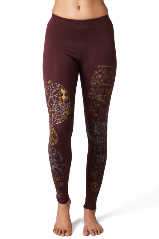 Yoga Pants Brain Maroon Front